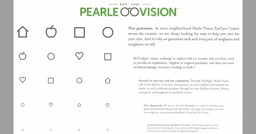 Pearle Vision Near Point Reading Card Words & Symbols