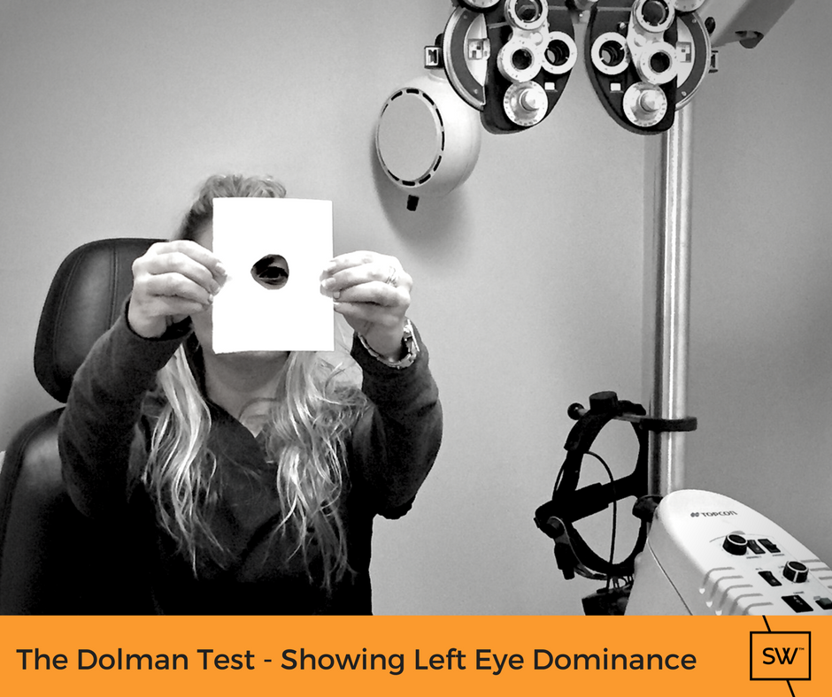 stonewire staff member demonstrating the dolman technique - showing left eye dominance