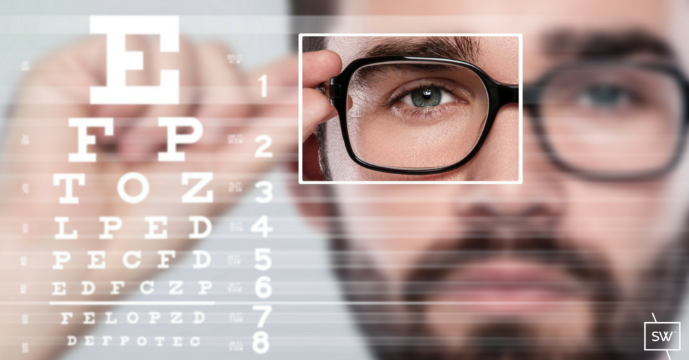 Ocular dominance - man with square around right eye