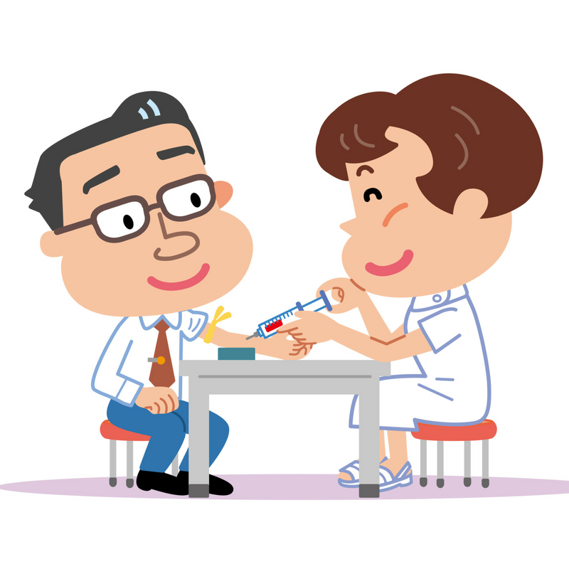 Cartoon drawing of nurse drawing blood from a diabetic patient to check their hgA1C levels