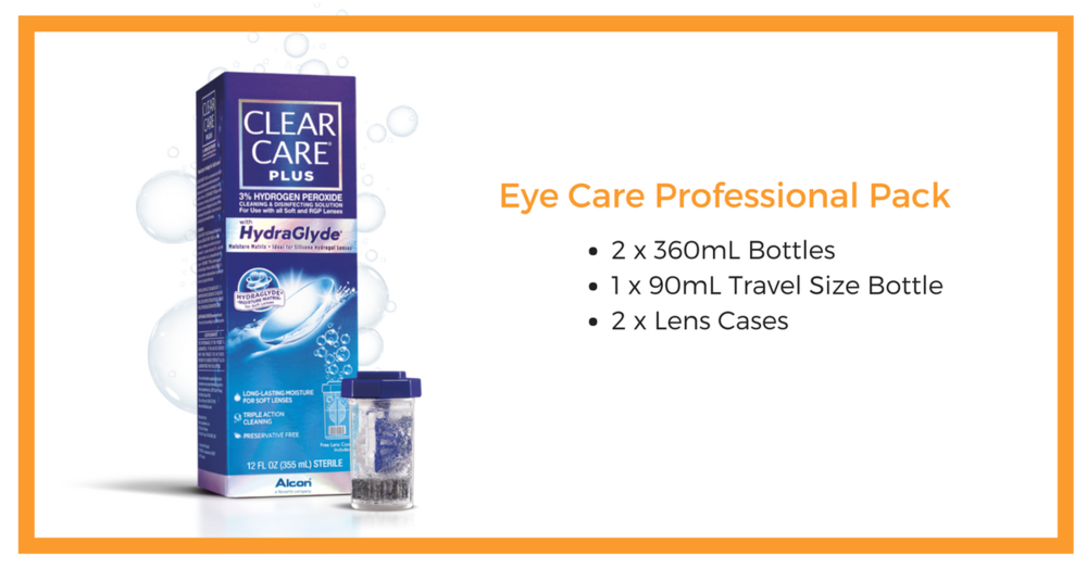 clear Care Plus with Hydraglyde  - 3% Hydrogen peroxide - for soft & RGP Lenses - pRESERVATIVE FREE    Cost: $25.00 per professional Pack +GST