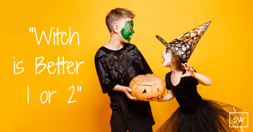 two kids getting ready for halloween on an orange background.