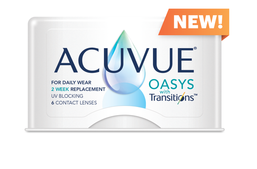 The all new acuvue oasys with transitions contact lens box shot.