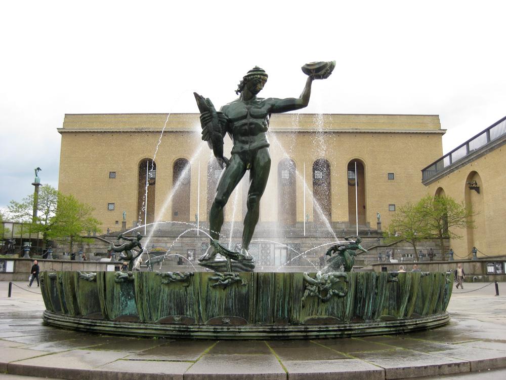 Carl Milles' Poseidon sits in Götaplatsen, Gothenburg, Sweden.