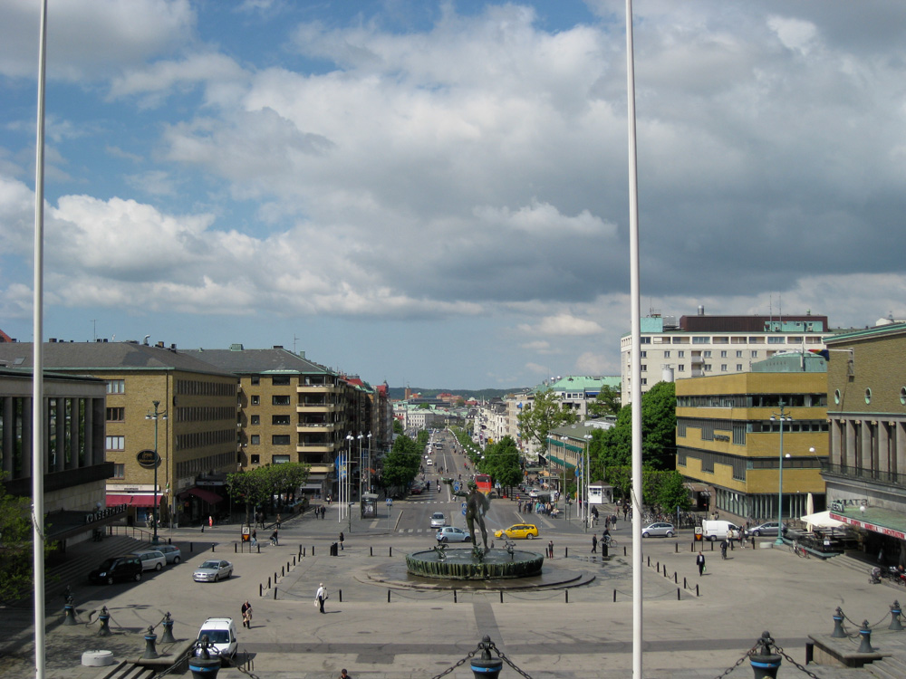 View from the Konstmuseum steps, overlooking Götaplatsen and Avenyn, Gothenburg, Sweden.