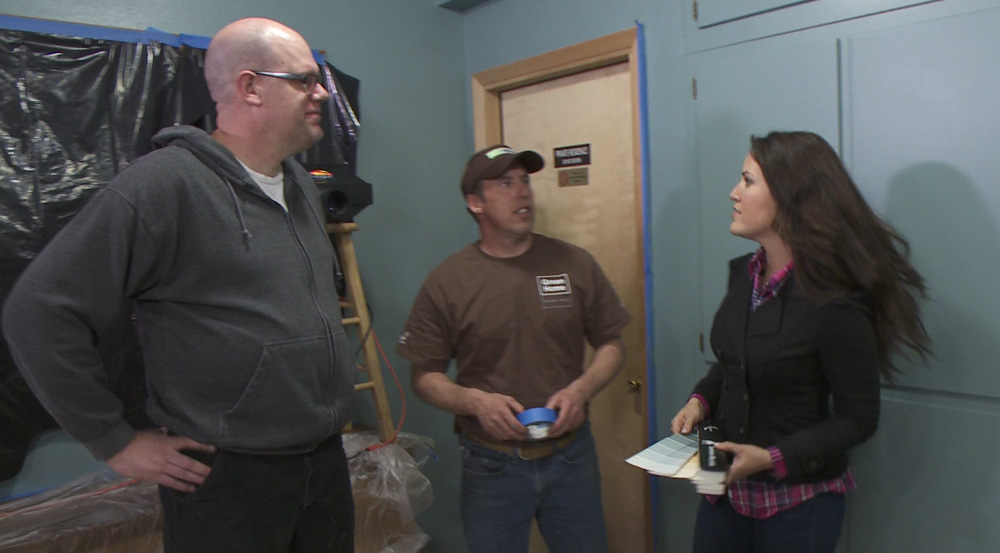 My on-camera moment, discussing mural paint with designer Blanche Garcia and contractor Tom Reid