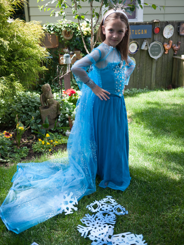 Granddaughter Ruby, happily modeling her Elsa gown.