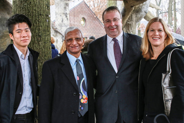 (Left to right) David Iseri from Slade Architecture, Amar Malla from NYC DDC, Ken Mitchell, Director of Staten Island Zoo, and Faith Rose from DDC pause to celebrate a successful project.