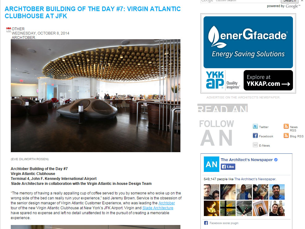 "Architect's Newspaper ""Archtober Building of the Day #7: Virgin Atlantic Clubhouse at JFK"" October 08, 2014"