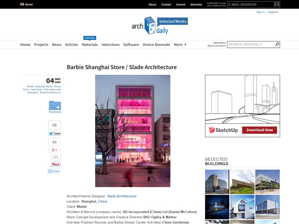 "Archdaily  ""Barbie Shanghai Store Slade Architecture"" May 04, 2009"
