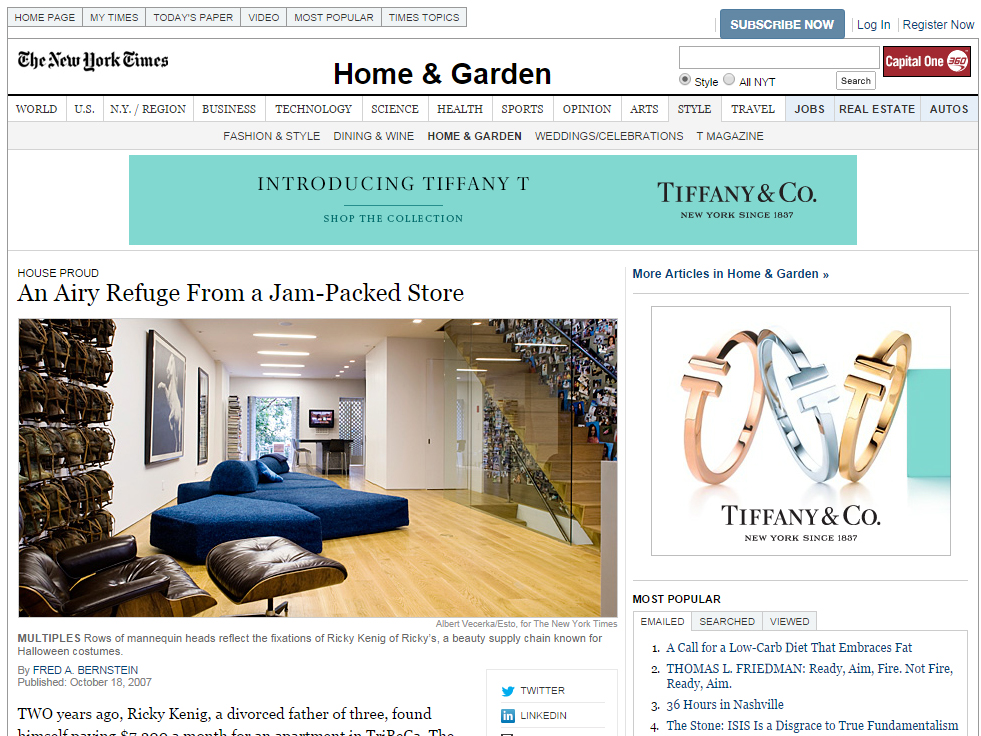 "The New York Times ""An Airy Refuge From a Jam-Packed Store"" January 11, 2012"