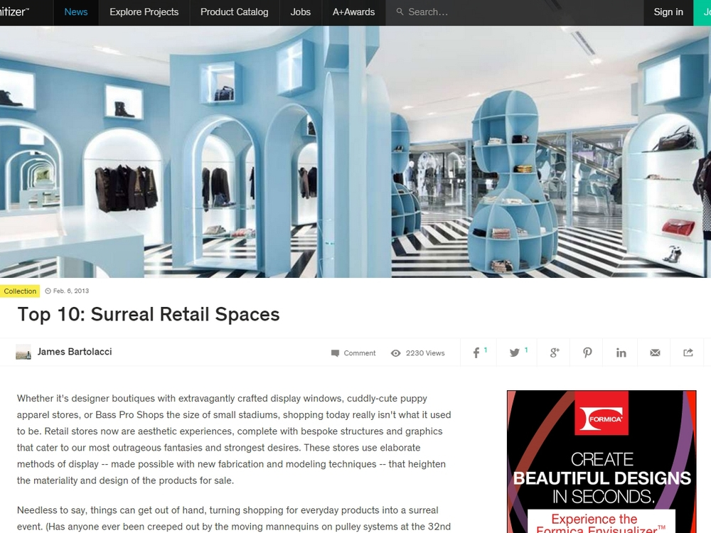 "Architizer ""Top 10: Surreal Retail Spaces"" February 6, 2013"