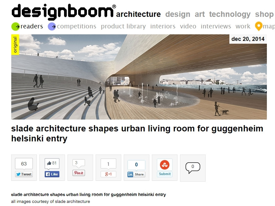 "Designboom ""Slade Architecture Shapes Urban Living Room for Guggenheim Helsinki Entry"" December 20, 2014"