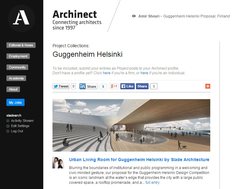 "Archinect ""Project Collections: Guggenheim Helsinki"" January 06, 2015"