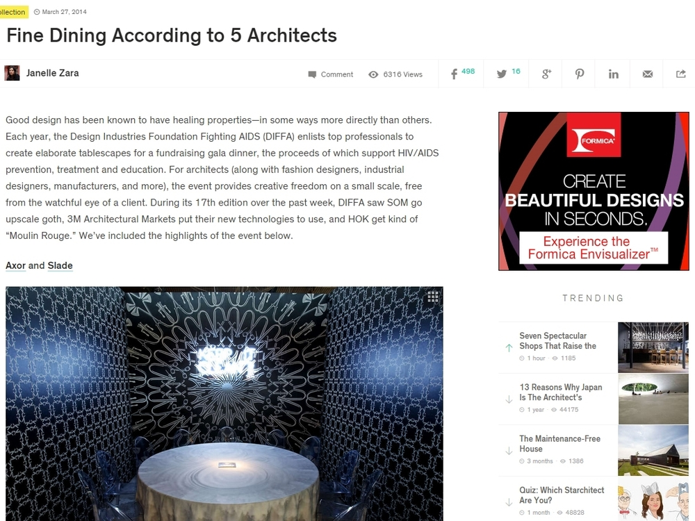 "Architizer ""Fine Dining According to 5 Architects"" March 27, 2014"