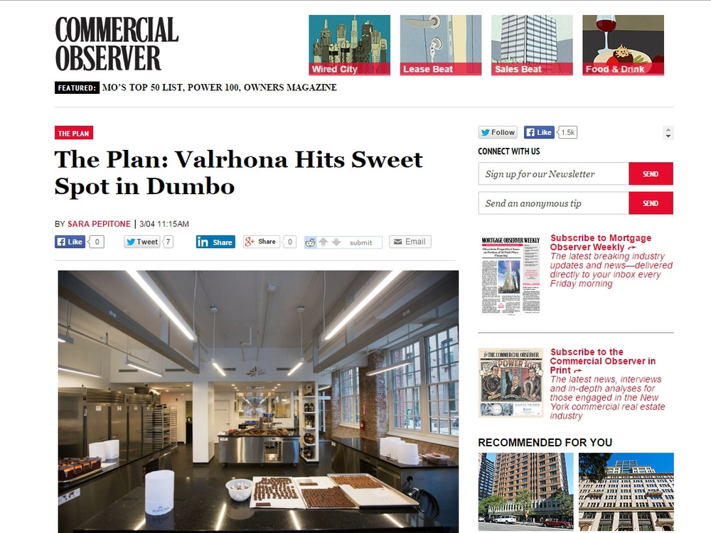 "Commercial Observer ""The Plan: Valrhona Hits Sweet Spot in Dumbo"" March 05, 2015"