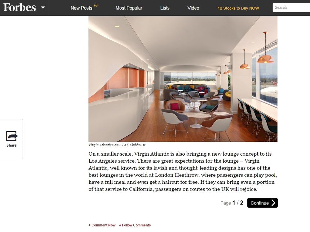 "Forbes  ""American, Virgin Atlantic Launch New Airport Lounge Designs"" April 30, 2015"