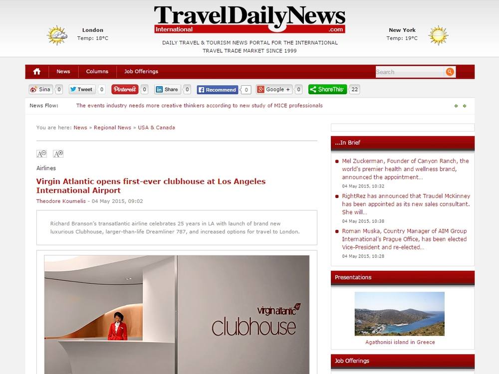 "Travel Daily News ""Virgin Atlantic opens first-ever clubhouse at Los Angeles International Airport"" May 04, 2015"