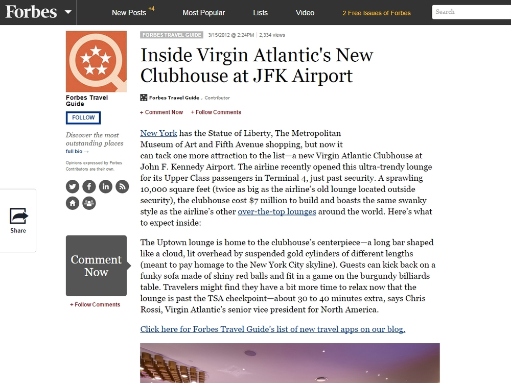 "Forbes  ""Inside Virgin Atlantic's New Clubhouse at JFK Airport"" March 15, 2012"