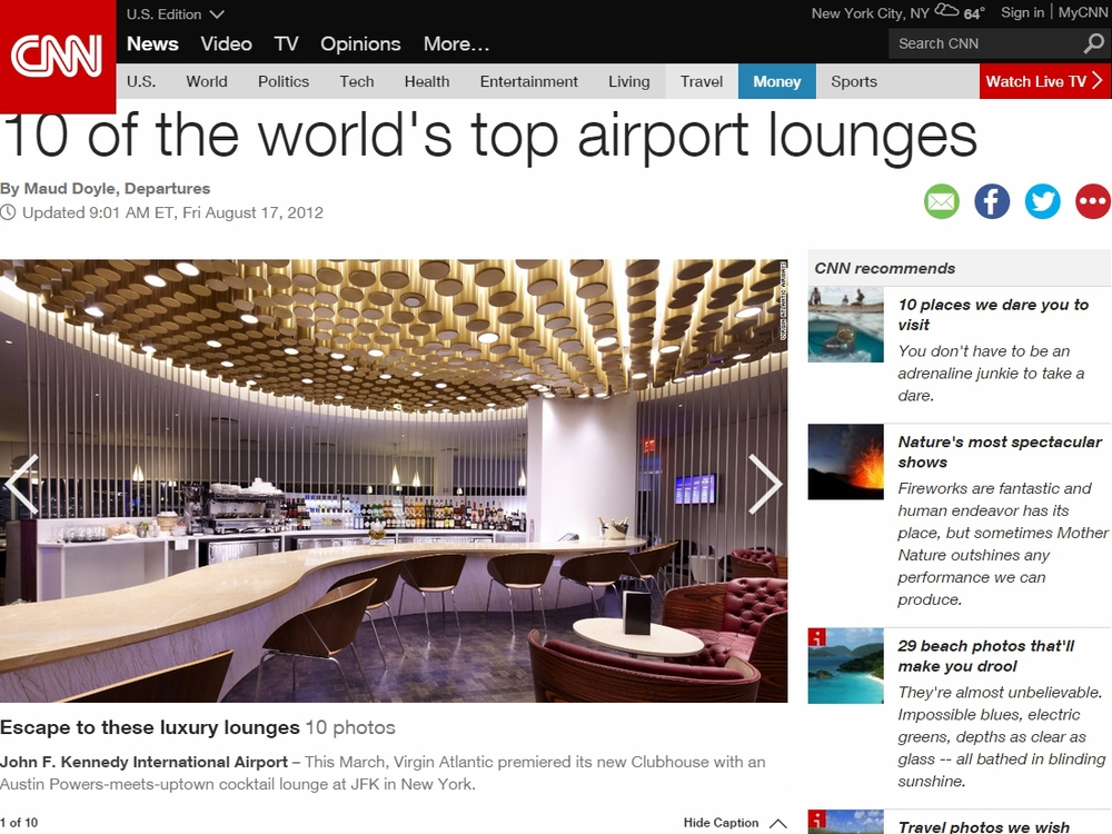 "CNN  ""10 of the World's Top Airport Lounges"" August 17, 2012"