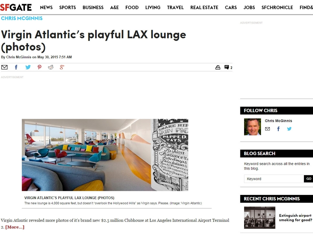"SF Gate  ""Virgin Atlantic's Playful LAX Lounge"" May 30, 2015"