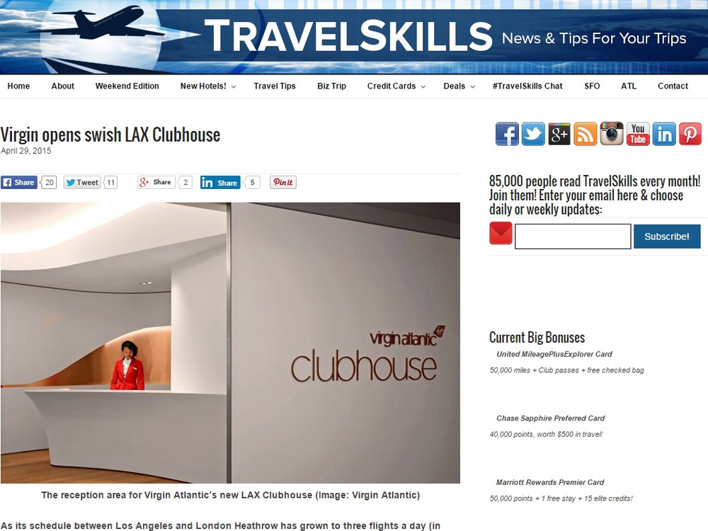 "Travel Skills  ""Virgin Opens Swish LAX Clubhouse"" April 29, 2015"