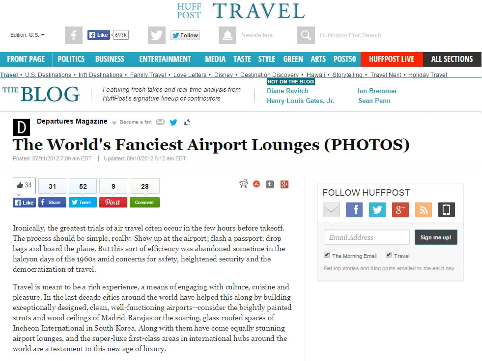 "Huffington Post  ""The World's Fanciest Airport Lounges"" July 11, 2012"