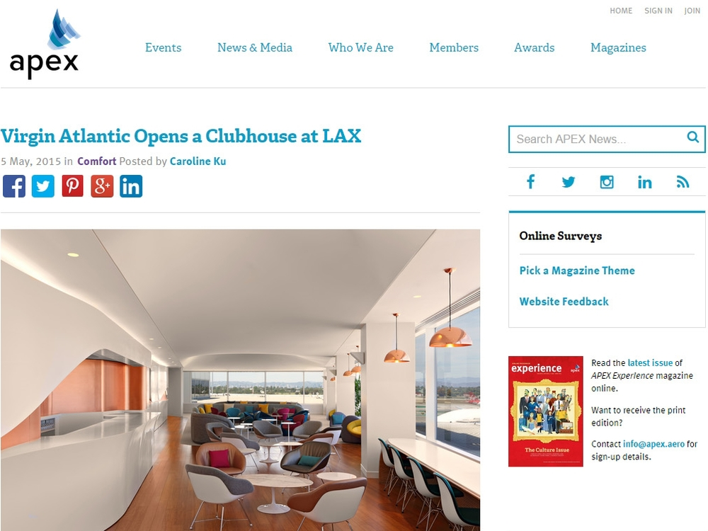 "Apex  ""Virgin Atlantic Opens a Clubhouse at LAX"" May 05, 2015"
