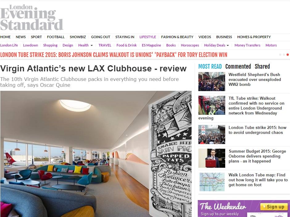 "London Evening Standard  ""Virgin Atlantic's new LAX Clubhouse - review"" July 07, 2015"