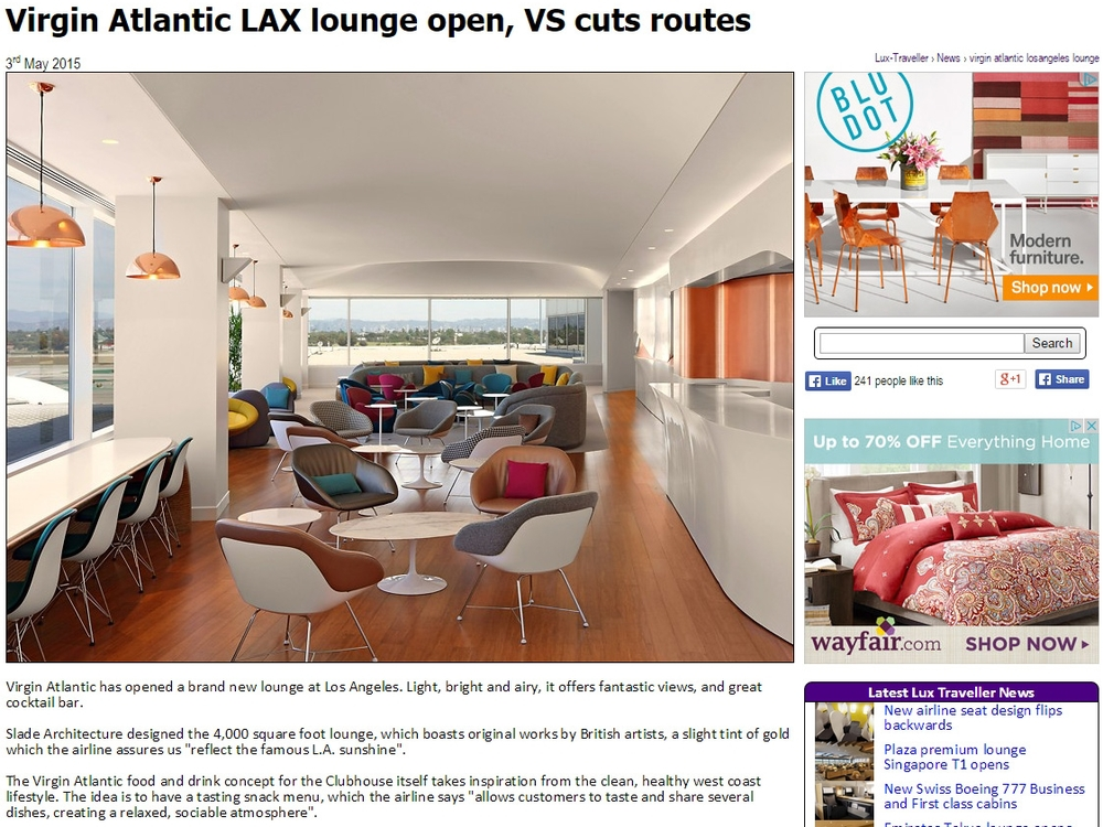 "Lux Traveller  ""Virgin Atlantic LAX Lounge Opens"" May 03, 2015"