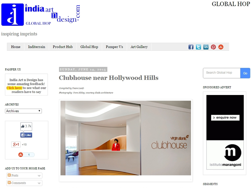 "India Art n Design  ""Clubhouse near Hollywood Hills"" June 14, 2015"