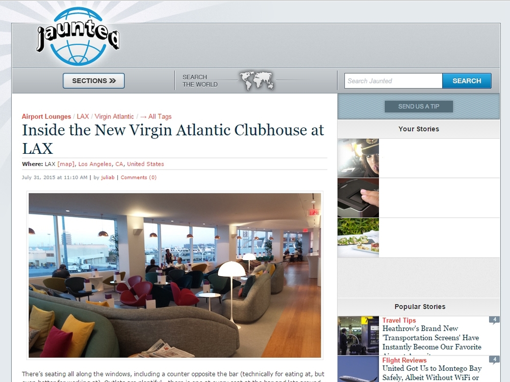 "Jaunted  ""Inside the new Virgin Atlantic Clubhouse at LAX"" July 31, 2015"