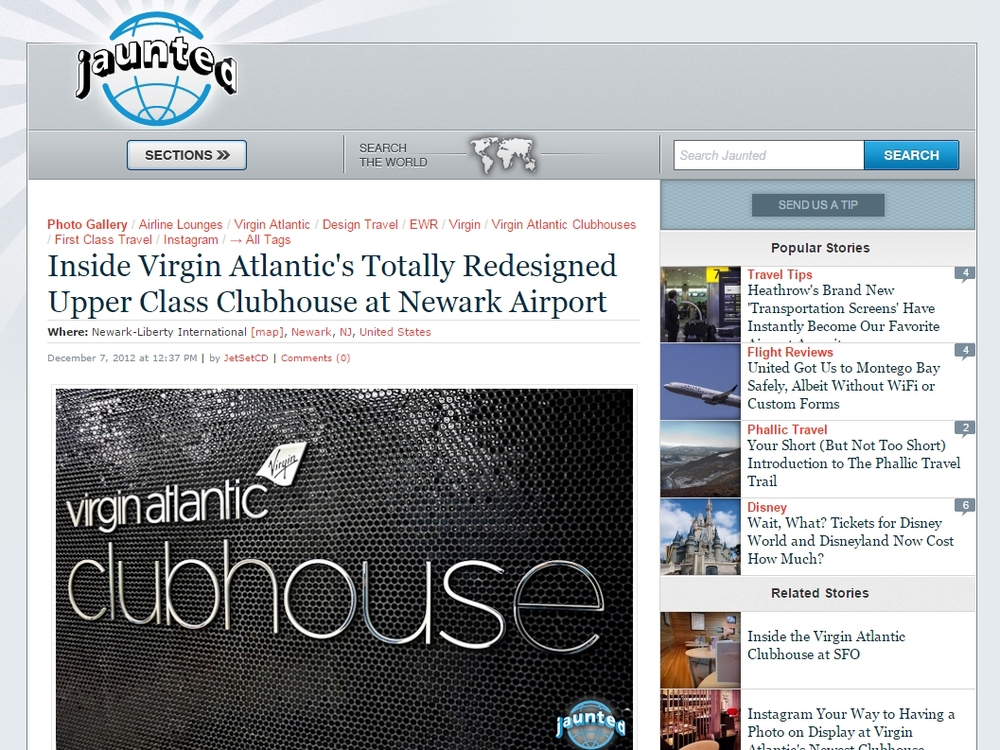 "Jaunted ""Inside Virgin Atlantic's totally redesigned upper class clubhouse at Newark airport"" December 07, 2012"