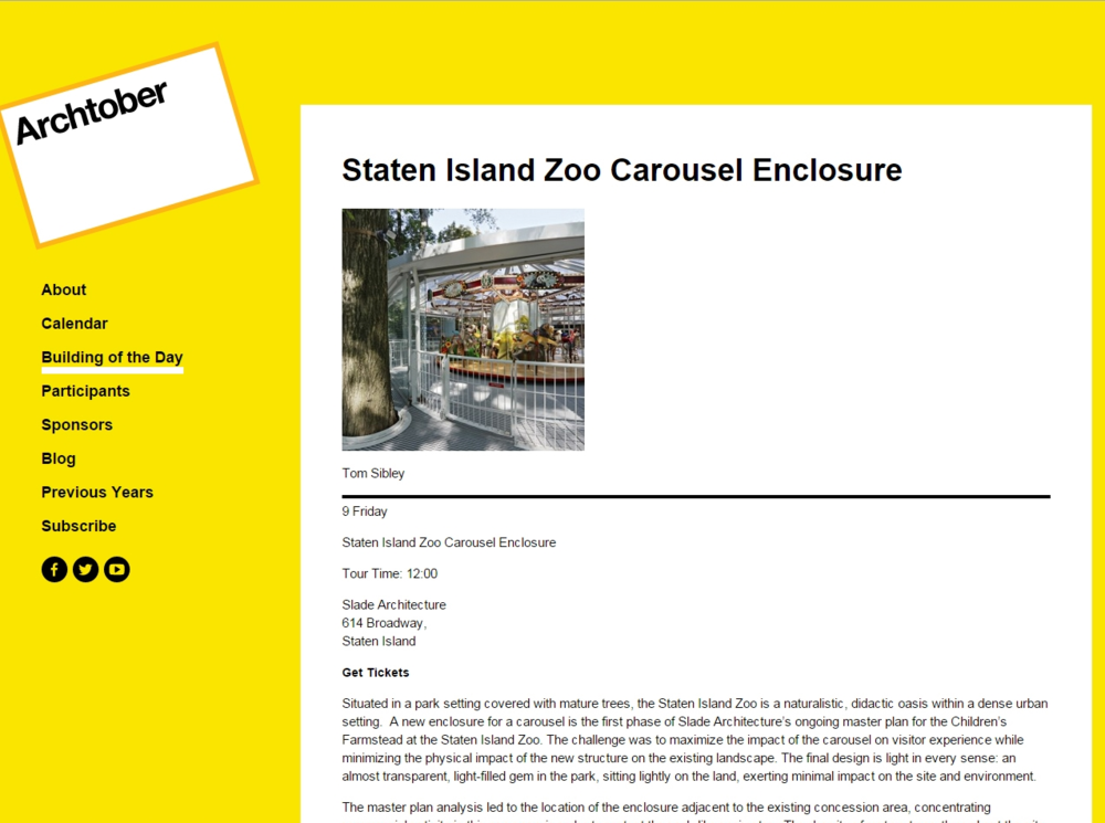 "Archtober ""Staten Island Zoo Carousel Enclosure"" August 20, 2015"