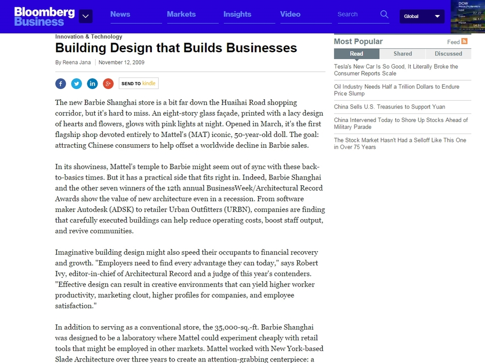 "Bloomberg Business  ""Building Design That Builds Business"" November 12, 2009"