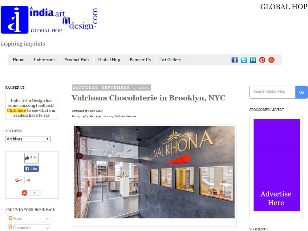 "India Art n Design ""Valrhona Chocolaterie in Brooklyn, NYC"" September 5, 2015"
