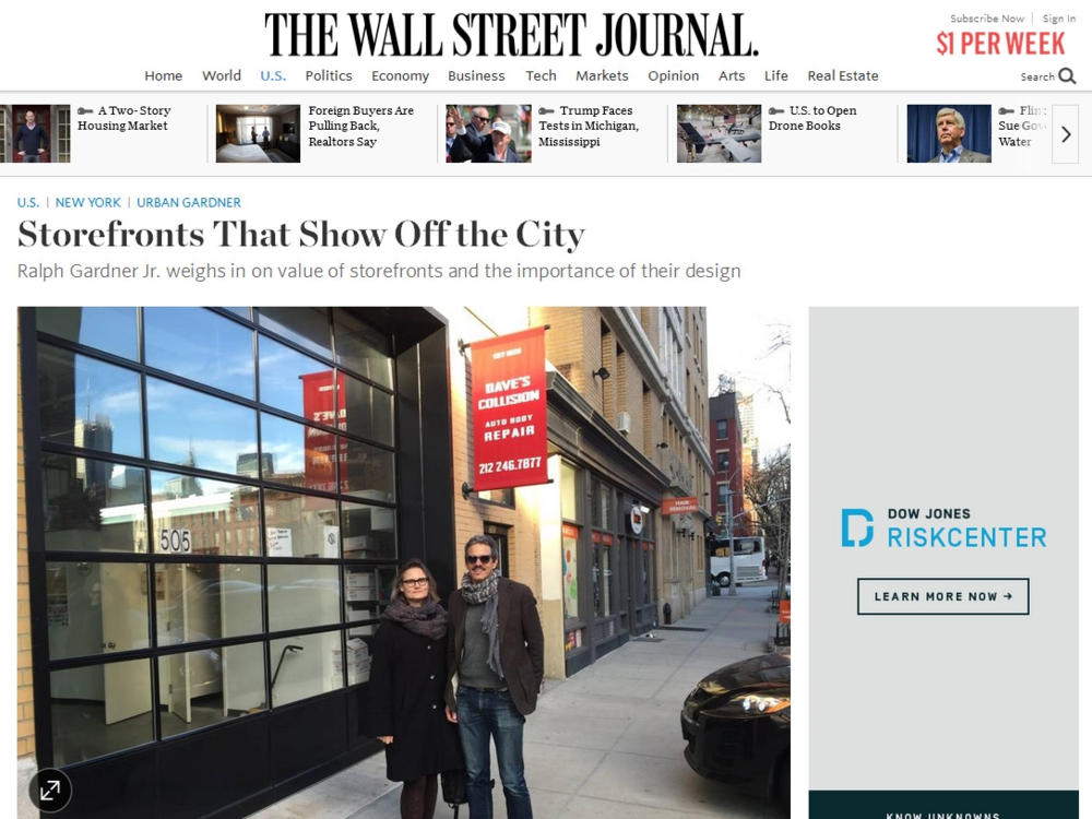 "The Wall Street Journal  ""Storefronts That Show Off the City"" March 07, 2016"