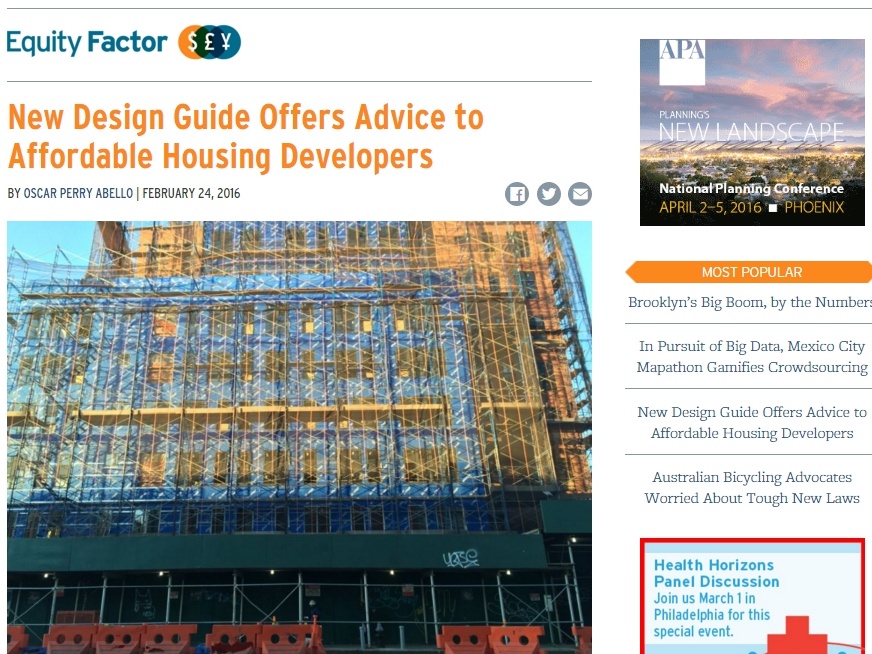 "Next City ""New Design Guide Offers Advice to Affordble Housing Developers"" February 24, 2016"