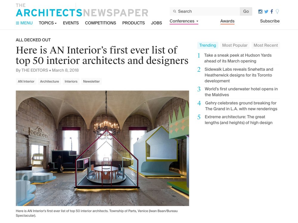 "Architect's Newspaper  ""Top 50 Interior Architects and Designers"" March 08, 2018"