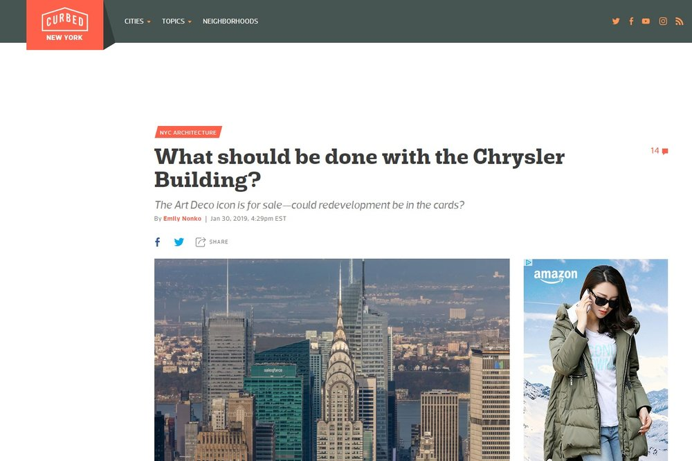 "Curbed  ""What should be done with the Chrysler Building?"" January 30th, 2019"