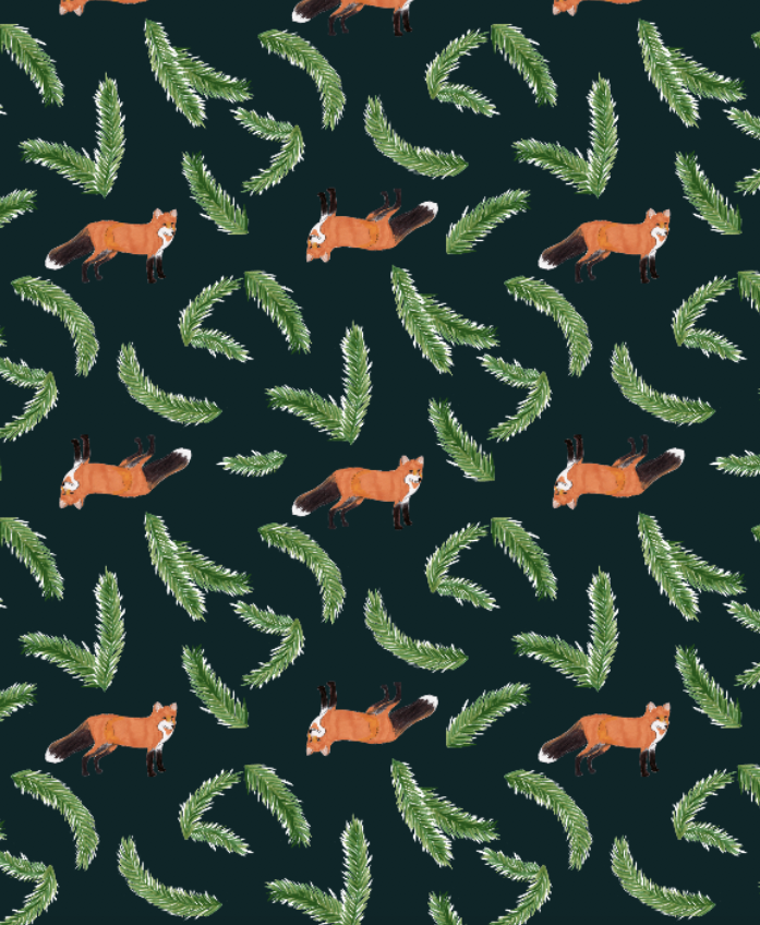 Foxes and Branches Holiday Gift Wrap