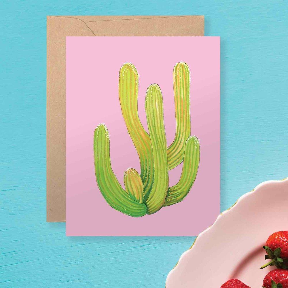 Pink Cactus Card
