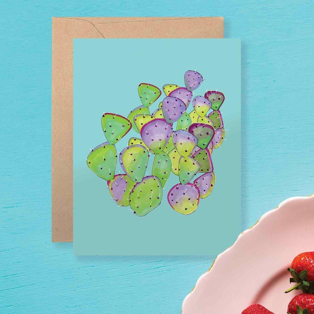 Teal Cactus Card