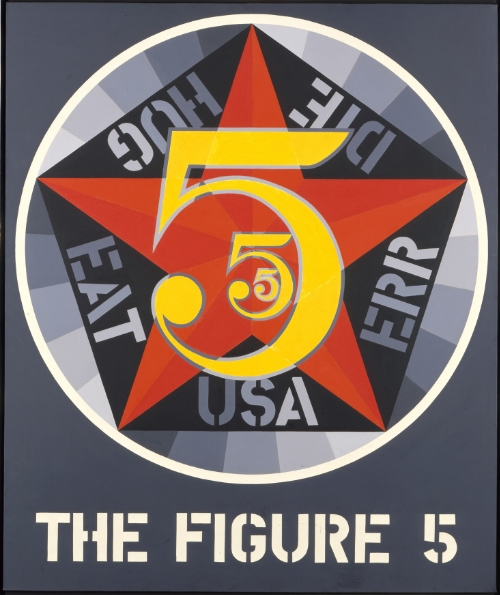 Indiana, Robert (1928-) The Figure Five, 1963. Oil on canvas, 60 x 50 1/8 in. (152.4 x 127.2 cm). Location :  Smithsonian American Art Museum, Washington, DC, U.S.A. © 1963 Robert Indiana / Artists Rights Society (ARS), New York. Photo © Smithsonian American Art Museum, Washington, DC / Art Resource, NY.