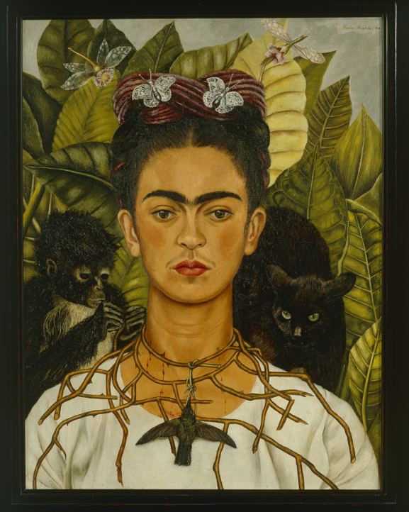 Kahlo, Frida (1907-1954) Self-Portrait with Thorn Necklace and Hummingbird, 1940. Nicholas Murray Collection, Harry Ransom Humanities Research Center, The University of Texas at Austin. © 2015 Banco de México Diego Rivera Frida Kahlo Museums Trust, Mexico, D.F. / Artists Rights Society (ARS), New York. Photo Credit:Erich Lessing / Art Resource, NY