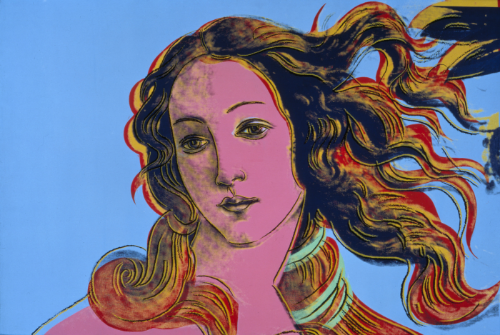 Andy Warhol, Details of Renaissance Paintings (Sandro Botticelli Birth of Venus, 1482), 1984. Synthetic polymer paint and silkscreen ink on canvas, 48 x 72. Image and Artwork © 2018 The Andy Warhol Foundation for the Visual Arts, Inc. / Licensed by Artists Rights Society (ARS), New York