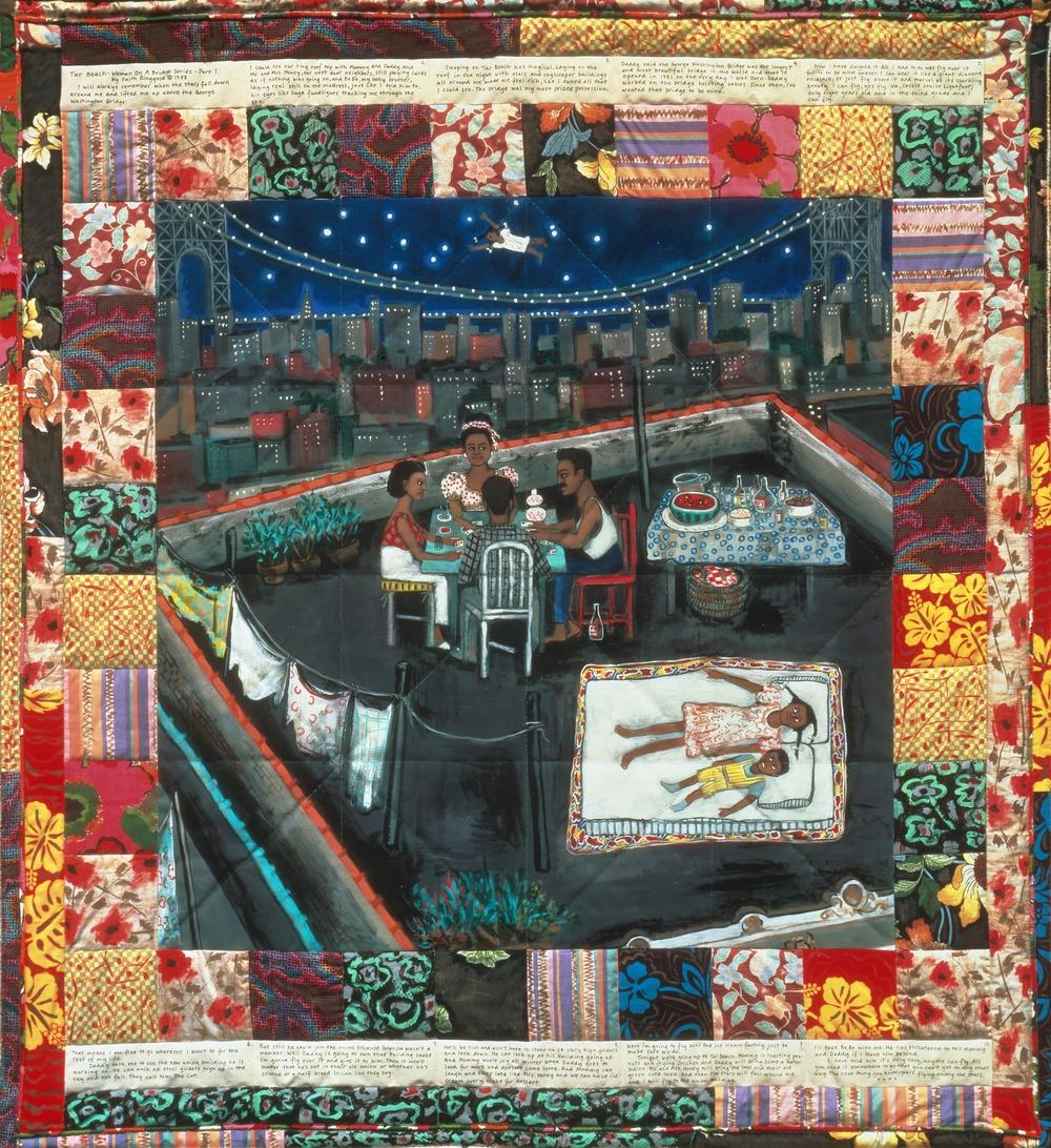 Above: Faith Ringgold, Tar Beach, 1988. Acrylic on canvas, 74 x 96 in. © 2016 Faith Ringgold / Artists Rights Society (ARS), New York. Digital image courtesy of Faith Ringgold / Art Resource, NY.