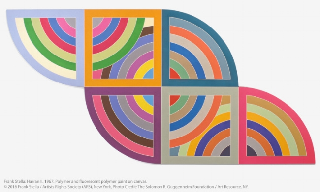 Frank Stella: Harran II. 1967. Polymer and fluorescent polymer paint on canvas. © 2016 Frank Stella / Artists Rights Society (ARS), New York, Photo Credit: The Solomon R. Guggenheim Foundation / Art Resource, NY.
