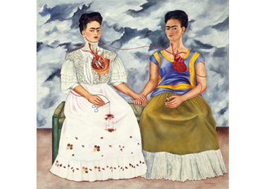 Frida Kahlo ,  The Two Fridas , 1939 © 2017 Banco de México Diego Rivera Frida Kahlo Museums Trust, Mexico, D.F. / Artists Rights Society (ARS), New York