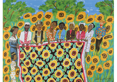 Faith Ringgold ,  The Sunflower Quilting Bee at Arles , 1996 © 2017 Faith Ringgold, member Artists Rights Society (ARS), New York